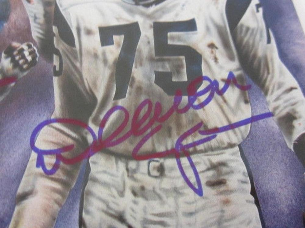 Lot 877: Merlin Olsen/Rosey Greer/Lamar Lundy Signed Autographed Legends Magazine JSA CoA