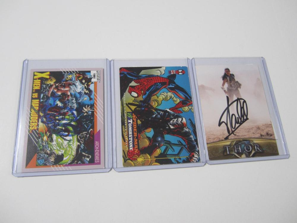 Lot 893: (Lot of 3) STAN LEE SIGNED ASSORTED MARVEL TRADING CARDS COA