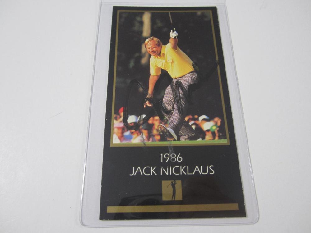 Lot 897: JACK NICKLAUS SIGNED 1997 GOLD FOIL GRAND SLAM VENTURES 1986 MASTERS CARD COA