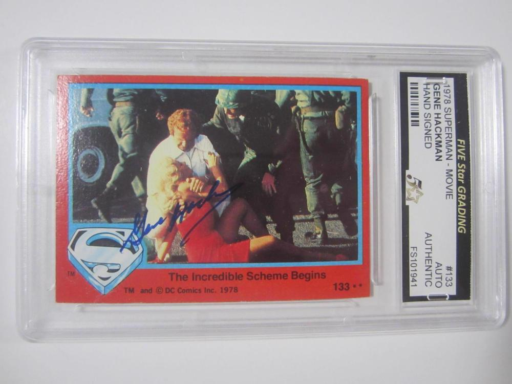 Lot 903: 1978 SUPERMAN GENE HACKMAN MOVIE HAND SIGNED AUTOGRAPH CARD VINTAGE NICE