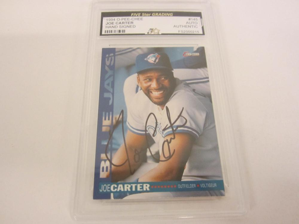 Lot 957: JOE CARTER 1994 HAND SIGNED AUTOGRAPHED SLABBED CARD