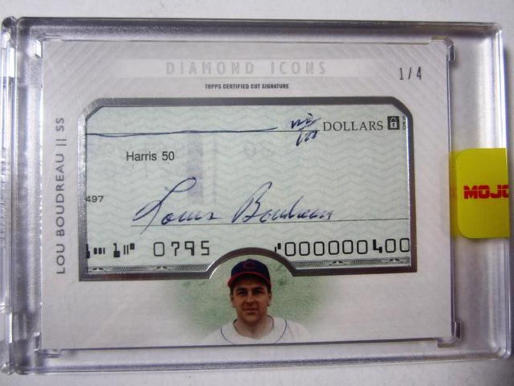 Lot 971: Lou Boudreau Cleveland Indians Signed Autographed Bank Check Cut Baseball Card #d 1/4
