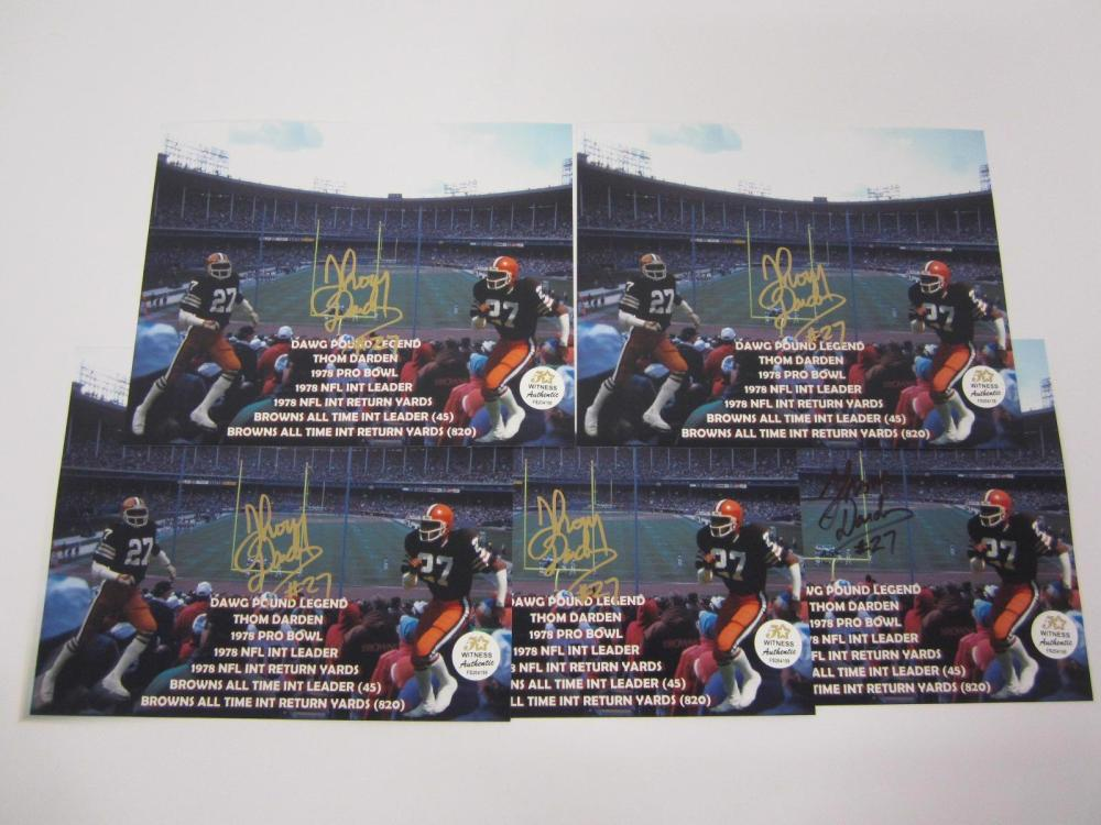 Lot 982: (5) THOM DARDEN CLEVELAND BROWNS SIGNED AUTOGRAPHED 8X10 PHOTOS COA