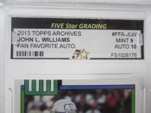 Lot 997: John L Williams 2013 Topps Archives Fan Favorite Auto Mint 9 Auto 10 Five Star