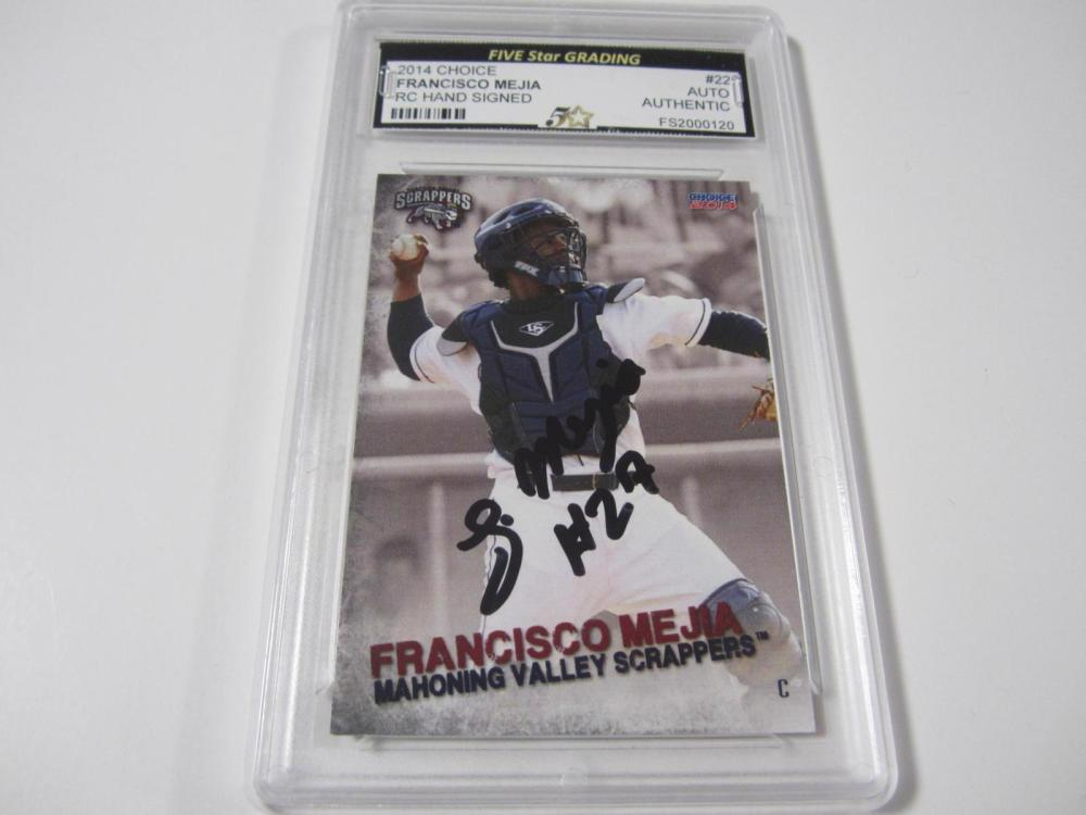 Lot 999: 2014 CHOICE FRANCISCO MEJIA SIGNED AUTOGRAPHED GRADED AUTHENTIC AUTO CARD