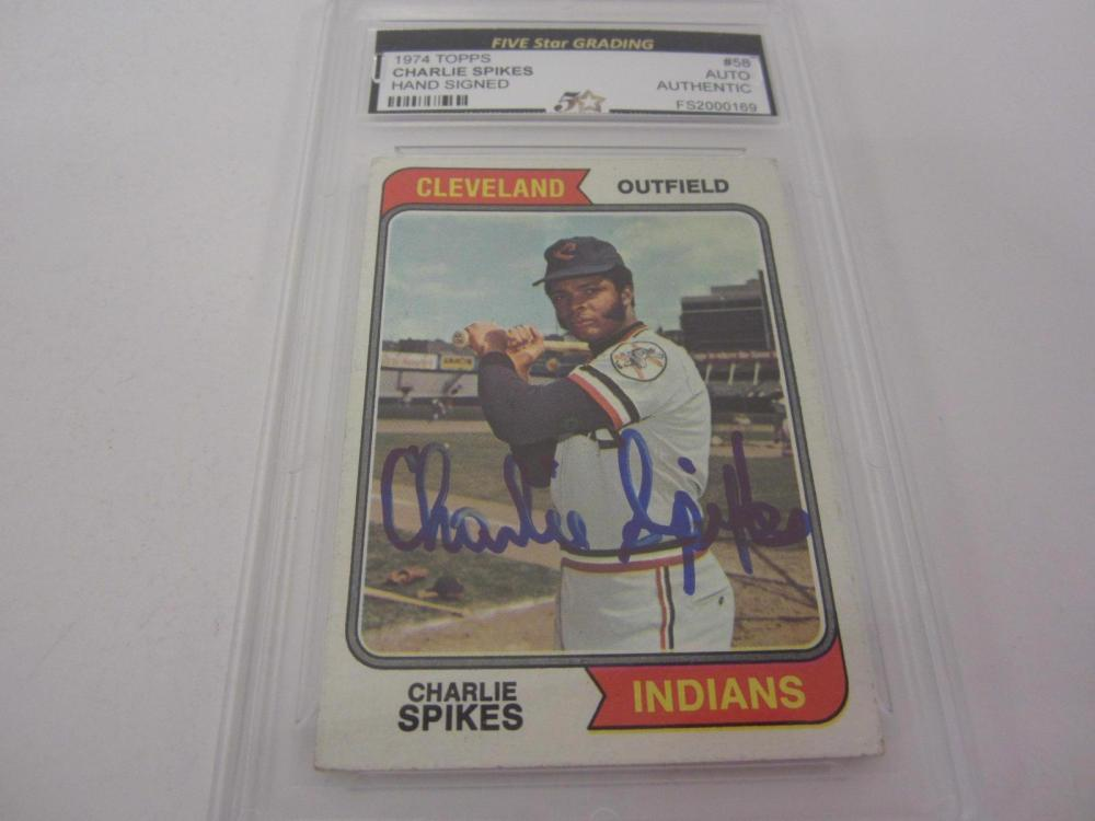 Lot 1001: 1974 TOPPS CHARLIE SPIKES SIGNED AUTOGRAPHED GRADED AUTHENTIC CARD