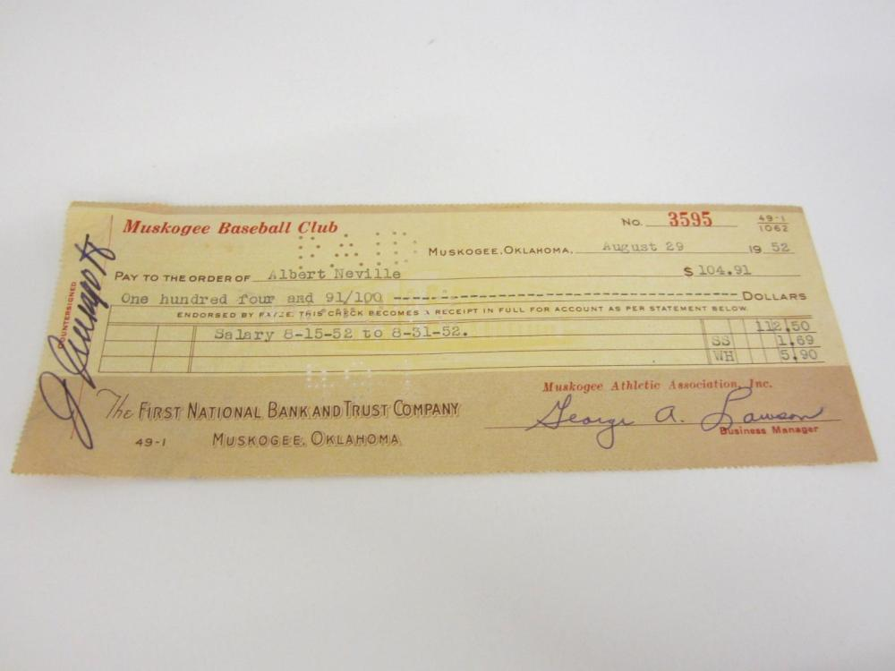 Lot 1005: GEORGE A LAWSON + ALBERT NEVILLE HAND SIGNED AUTOGRAPHED PAYCHECK