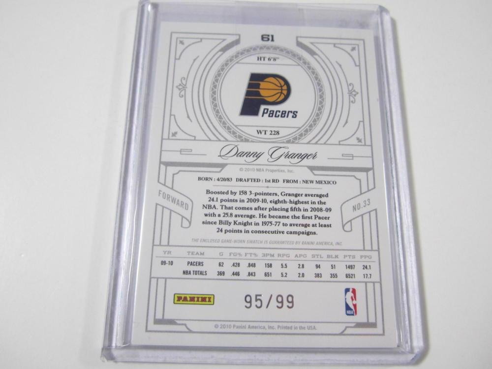 Lot 1014: 2010 PANINI BASKETBALL DANNY GRANGER PIECE OF GAME USED PACERS JERSEY CARD 95/99