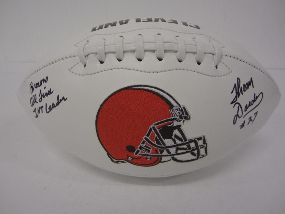 Lot 1030: THOM DARDEN SIGNED AUTOGRAPHED BROWNS FOOTBALL W/INSC 5 STAR COA