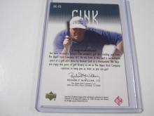 Lot 1044: 2001 UPPERDECK GOLF STEWART CINK PIECE OF GAME USED SHIRT CARD