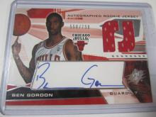 Lot 1043: 2004 UPPER DECK AUTOGRAPHED JERSEY RELIC 558/750 BEN GORDON CHICAGO BULLS SIGNED AUTOGRAPHED SPORTS CARD #146
