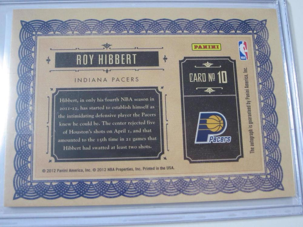 Lot 1045: 2012 PANINI SUPERSCRIBE HOLO JERSEY RELIC 124/149 ROY HIBBERT INDIANA PACERS SIGNED AUTOGRAPHED SPORTS CARD #10
