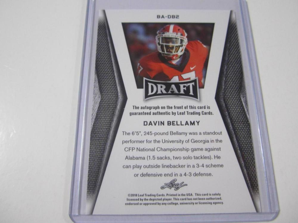 Lot 1046: 2018 LEAF DRAFT FOOTBALL DAVIN BELLAMY SIGNED AUTOGRAPHED CARD
