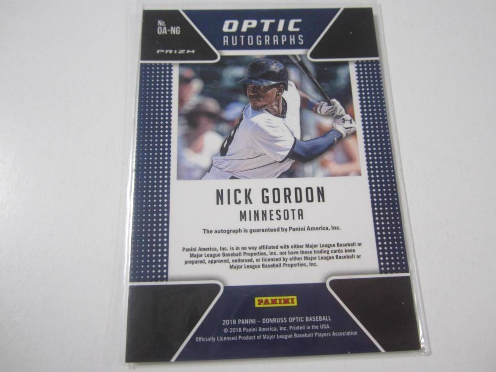 Lot 1064: 2018 PANINI BASEBALL NICK GORDON SIGNED AUTOGRAPHED TWINS CARD