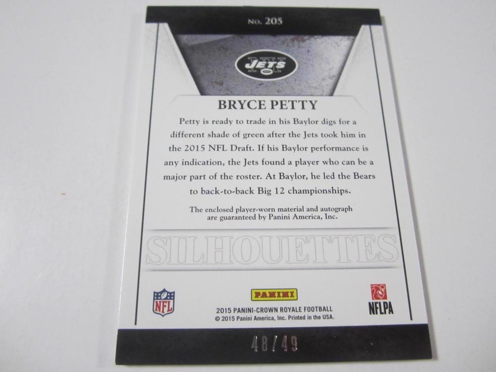 Lot 1072: 2015 PANINI FOOTBALL BRYCE PETTY SIGNED PIECE OF GAME USED JETS JERSEY CARD