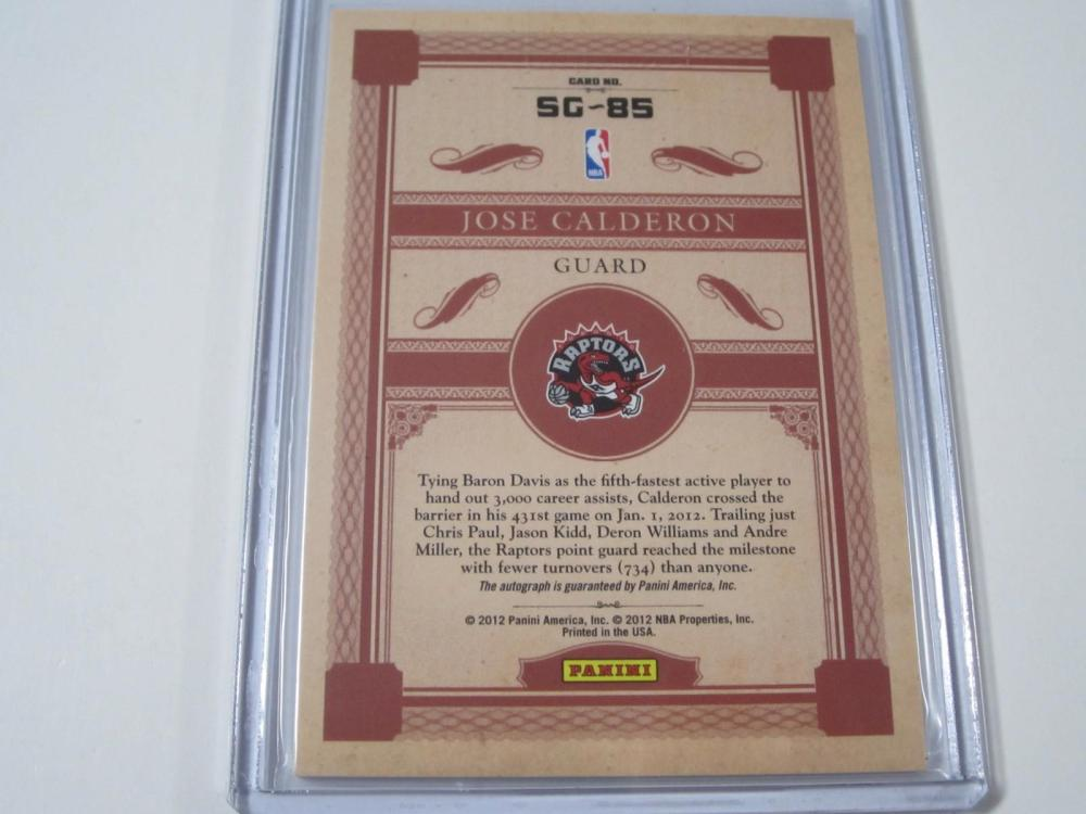 Lot 1067: 2012 PANINI SIGNS OF GOLD 073/149 JOSE CALDERON TORONTO RAPTORS SGNED AUTOGRAPHED SPORTS CARD #SG-85