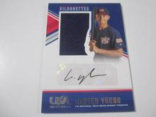 Lot 1076: 2018 PANINI USA BASEBALL CARTER YOUNG SIGNED PIECE OF GAME USED JERSEY CARD