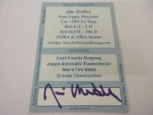 Lot 1073: JIM MEDLEY RACING SIGNED AUTOGRAPHED CARD COA