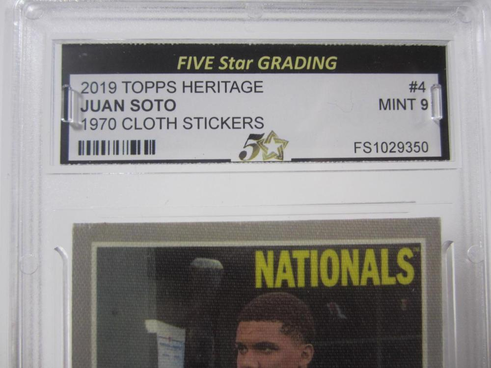 Lot 1079: 2019 TOPPS HERITAGE JUAN SOTO 1970 CLOTH STICKERS GRADED MINT 9