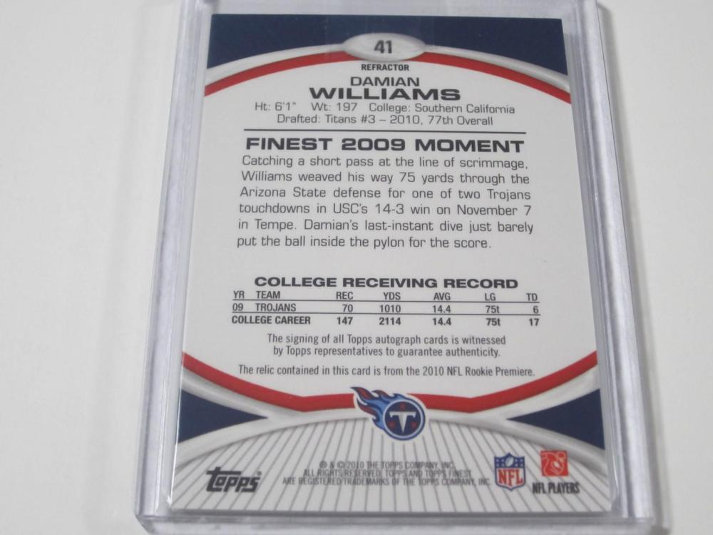 Lot 1080: 2010 TOPPS FINEST JERSEY RELIC ROOKIE CARD 46/99 DAMIAN WILLIAMS TENNESSEE TITANS SIGNED AUTOGRAPHED SPORTS CARD #41