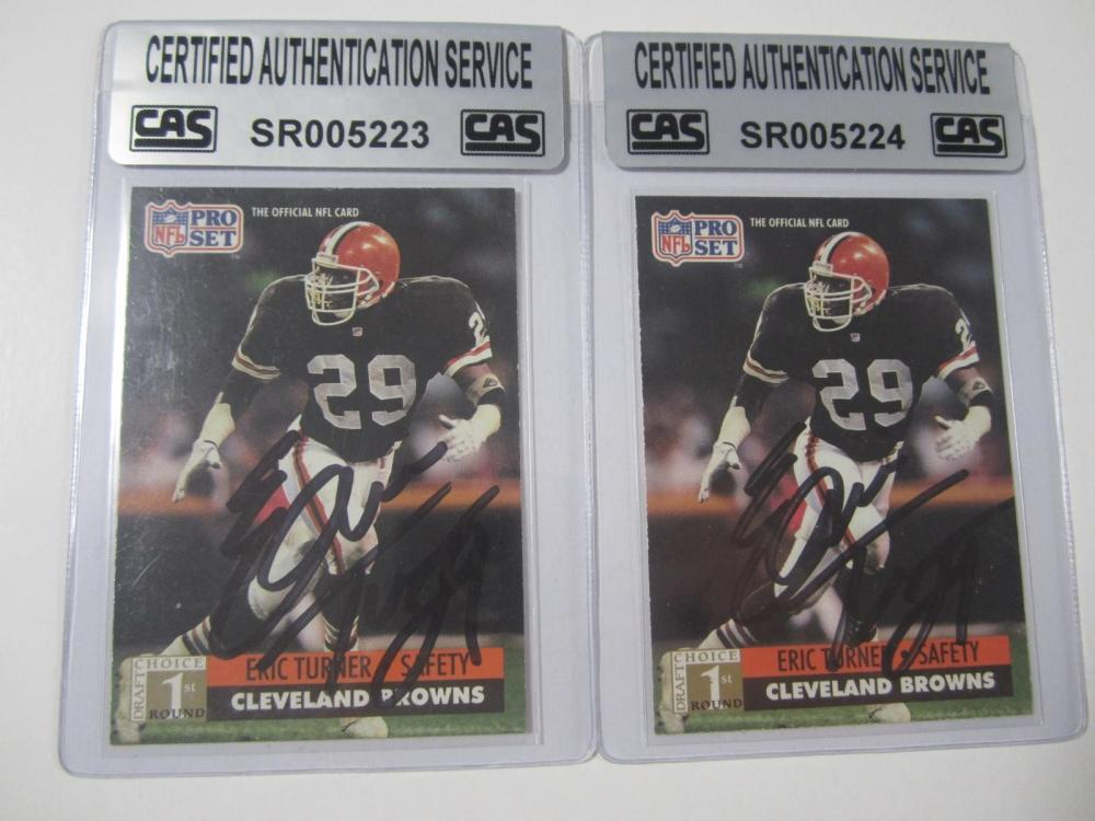 Lot 1115: (2)ERIC TURNER SIGNED AUTOGRAPHED BROWNS CARDS CAS COA
