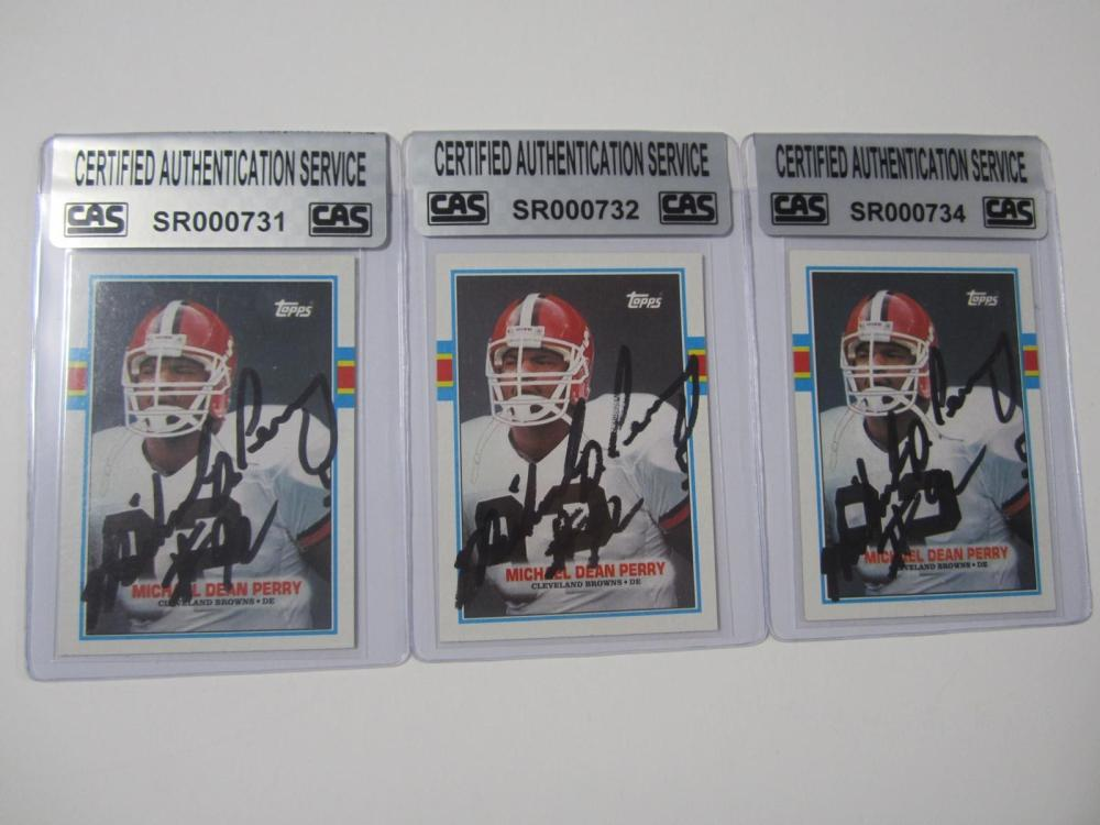 Lot 1112: (3)MICHAEL DEAN PERRY SIGNED AUTOGRAPHED BROWNS CARDS CAS COA