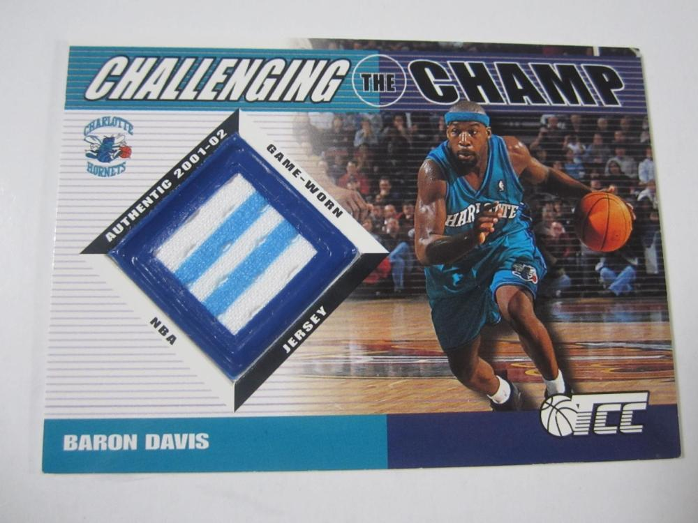 Lot 1123: 2002 TOPPS BASKETBALL BARON DAVIS HORNETS PIECE OF GAME USED JERSEY CARD