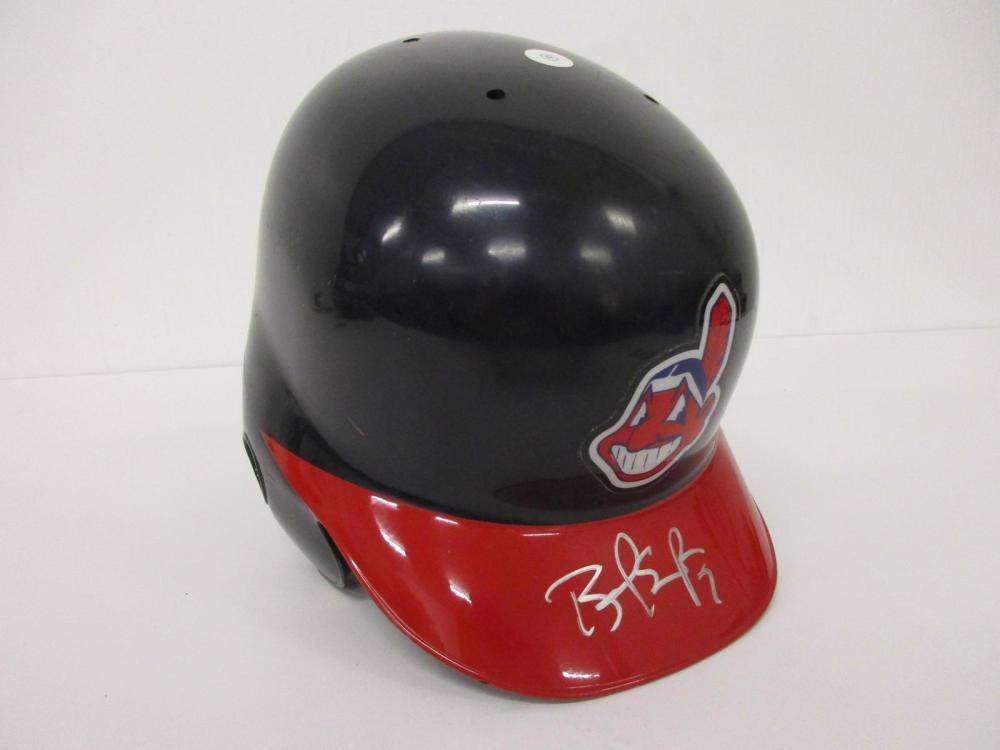 Lot 1147: BRANDON PHILLIPS SIGNED AUTOGRAPHED INDIANS GAME USED BATTING HELMET CAS COA