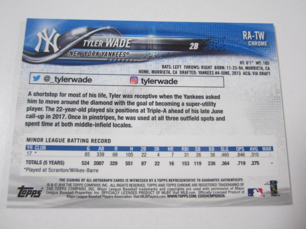 Lot 1156: 2018 TOPPS BASEBALL TYLER WADE SIGNED AUTOGRAPHED YANKEES CARD