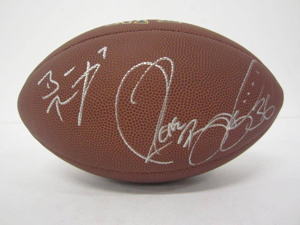Lot 1165: BEN ROETHLISBERGER JEROME BETTIS STEELERS SIGNED AUTOGRAPHED WILSON SUPERGRIP BROWN FOOTBALL CERTIFIED