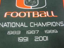 Lot 1186: Bernie Kosar Miami Hurricanes Signed Autographed Large Wool Championship Banner Certified CoA