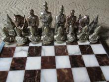 Vintage Brass And Marble Chess set Made in Italy