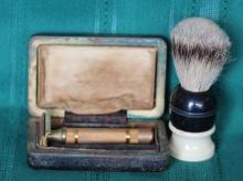 1920's Brass Gillette DE Safety Razor w/ Brush