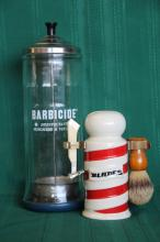 Vintage Barbicide Sanitizer + Barber Pole Razor St