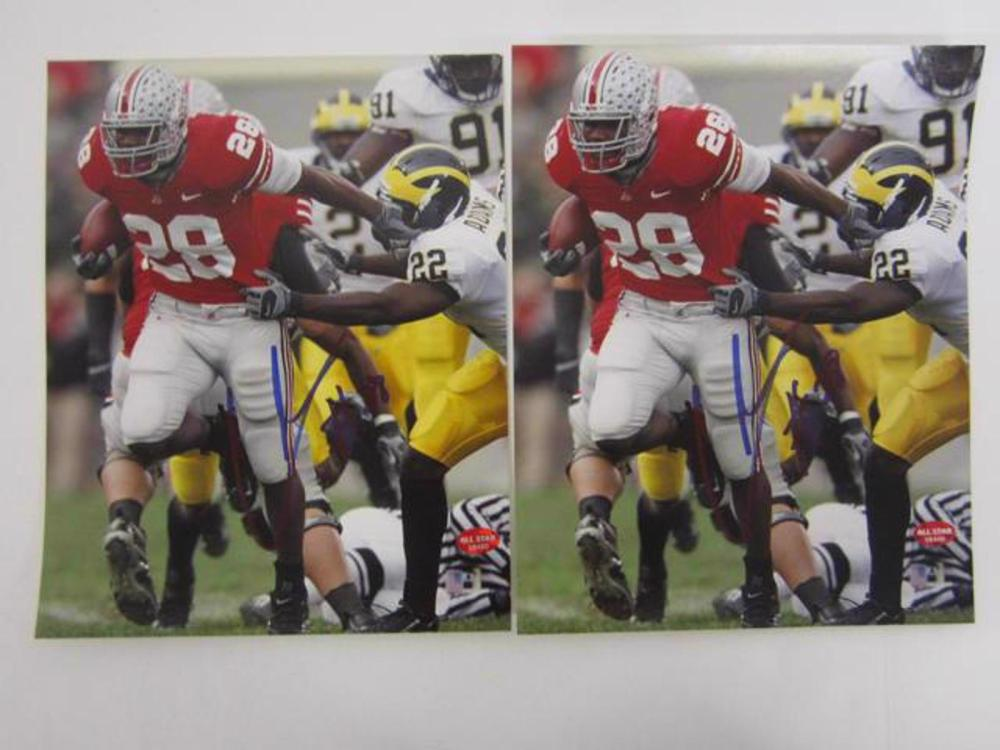 (2)CHRIS WELLS SIGNED AUTOGRAPHED OHIO STATE 8X10 COA