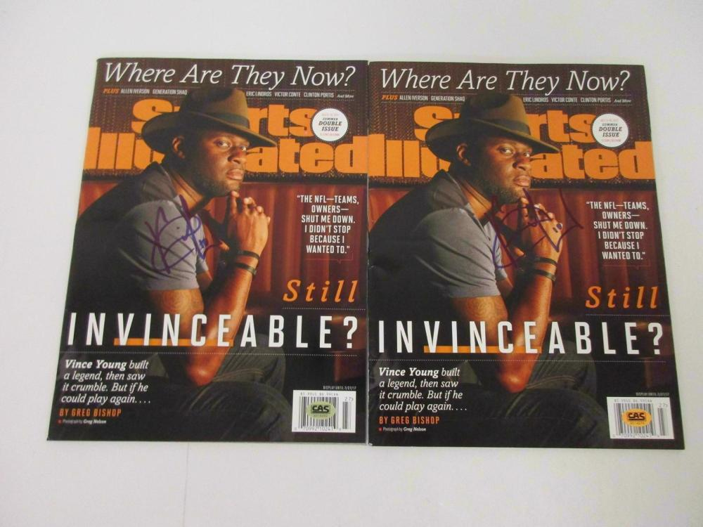Vince Young Hand Signed Autographed Magazines Lot of 2 CAS Certified COA