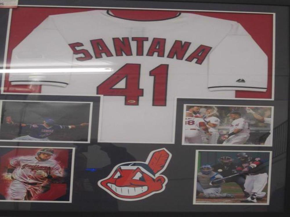 Carlos Santana Cleveland Indians Hand Signed Autographed Jersey Framed Matted CAS Certified COA