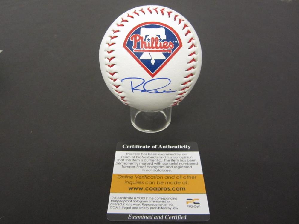 PHYS HOSKINS PHILLIES SIGNED AUTOGRAPHED BASEBALL COA PROS CERTIFIED