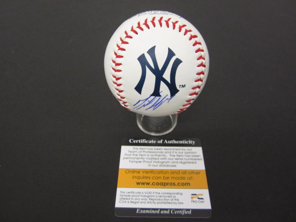 MIGUEL ANDUJAR YANKEES SIGNED AUTOGRAPHED BASEBALL COA PROS CERTIFIED