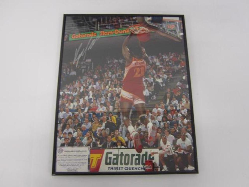 Dominique Wilkins Atlanta Hawks Hand Signed Autographed 16x20 Photo Framed with COA