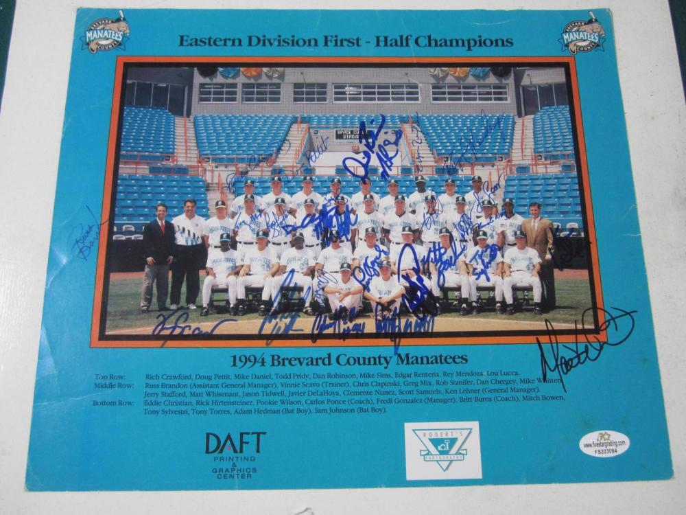 Edgar Renteria, Doug Pettit, Rich Crawford, Greg Mix (25 Autographs) Signed 1994 Brevard County Manatees Team Photo Certified Coa
