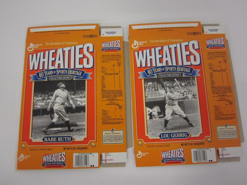 BABE RUTH LOU GEHRIG LOT OF 2 WHEATIES BOXES RARE