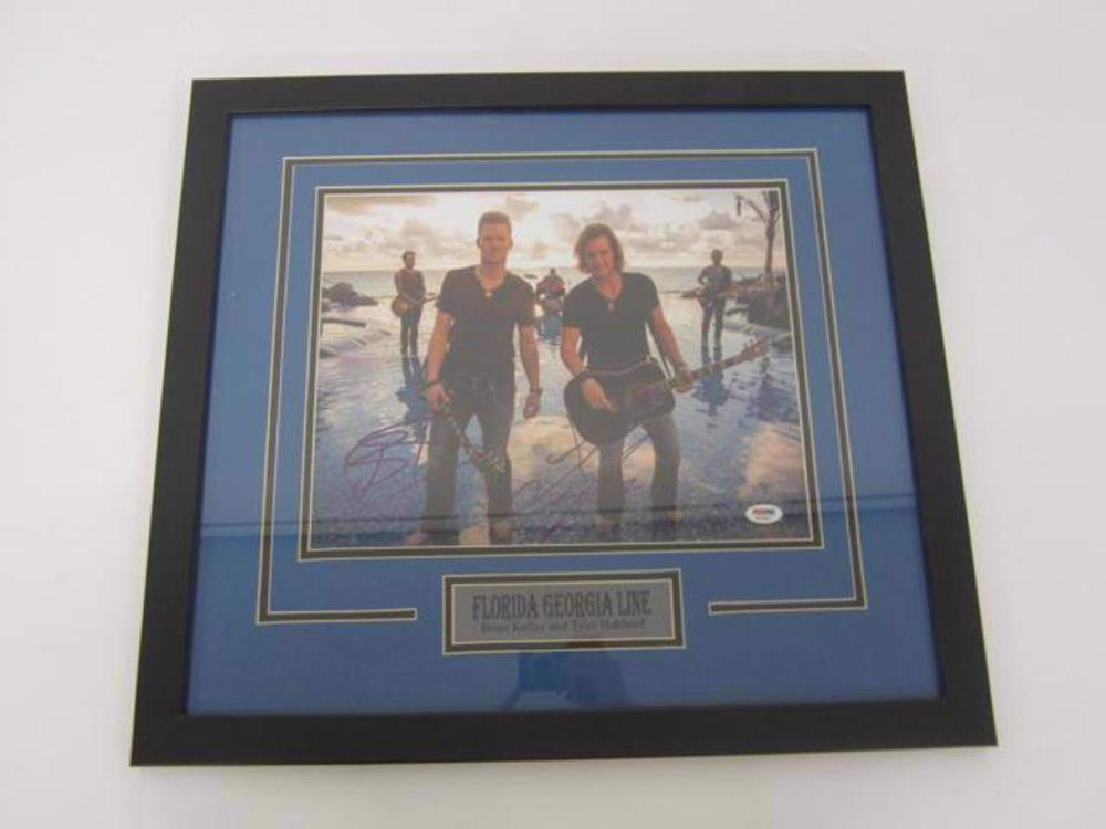 Brian Kelley Tyler Hubbard Florida Georgia Line Hand Signed Autographed 11x14 Photo Framed Matted PSA DNA Certified COA