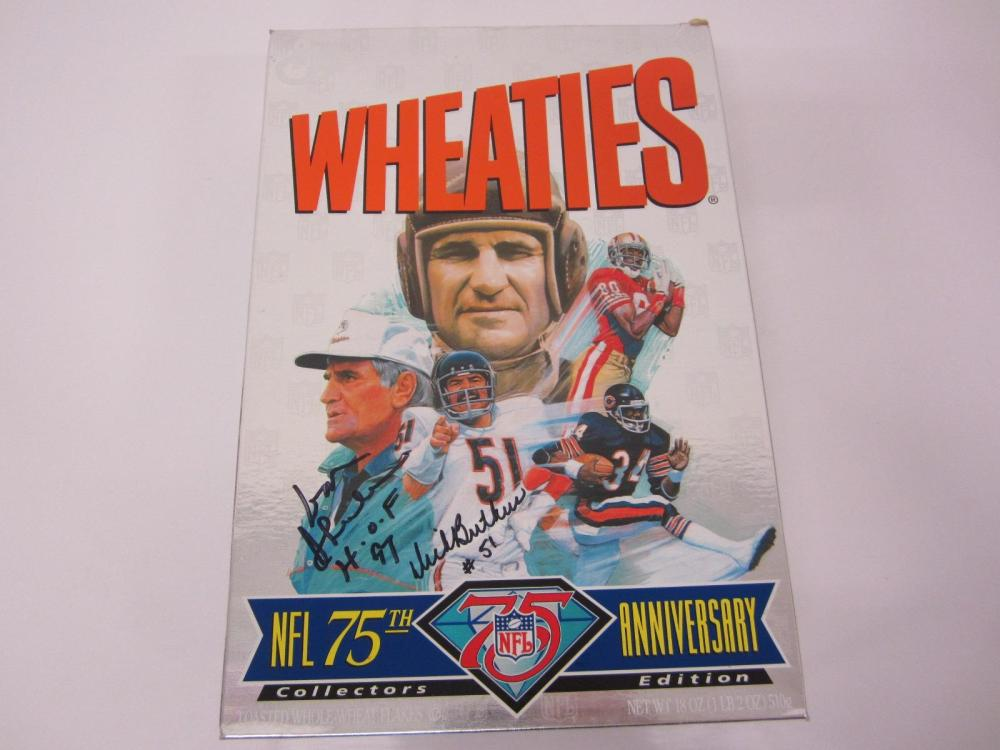 DON SHULA DICK BUTKUS SIGNED WHEATIES BOX CERTIFIED