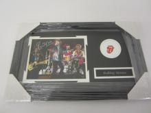 ROLLING STONES BAND SIGNED FRAMED 8X10 PHOTO MICK JAGGER AND OTHERS CERTIFIED COA