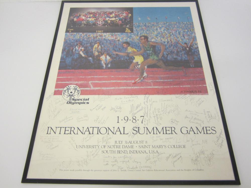 1987 International Summer Games Special Olympics signed framed poster