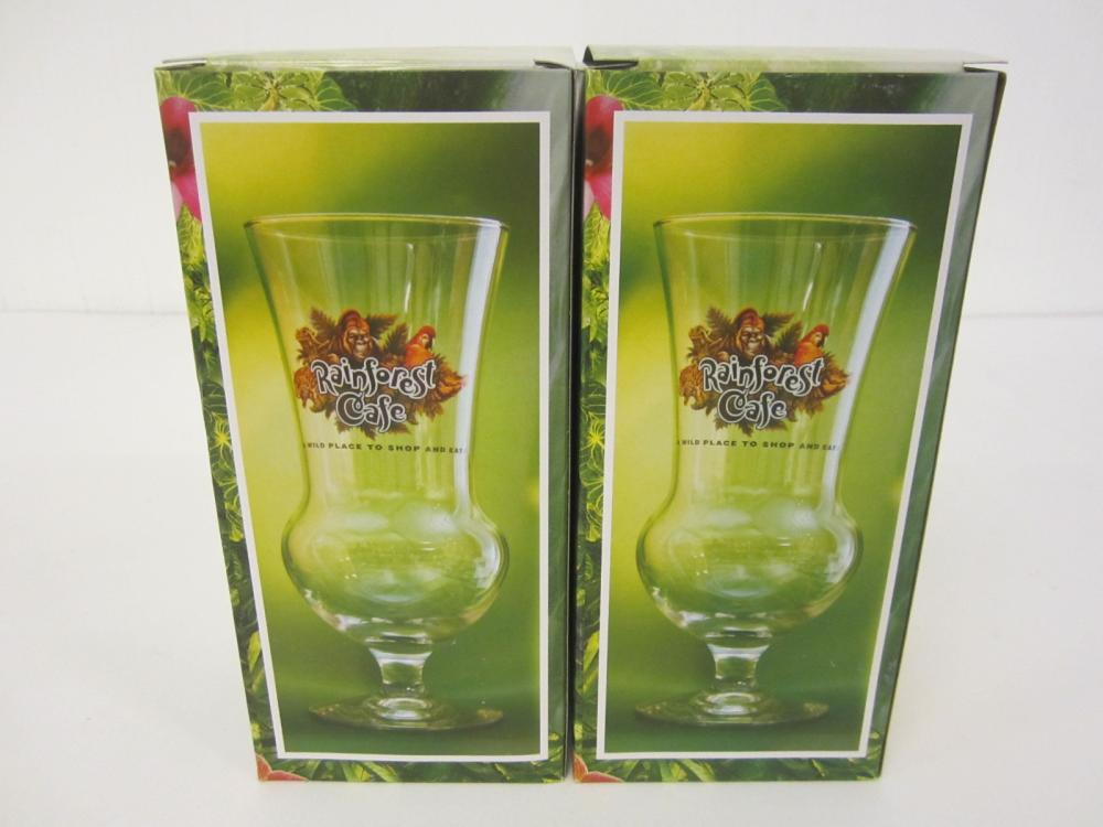 Rainforest Café Ontario Canada lot of 2 glasses new in box