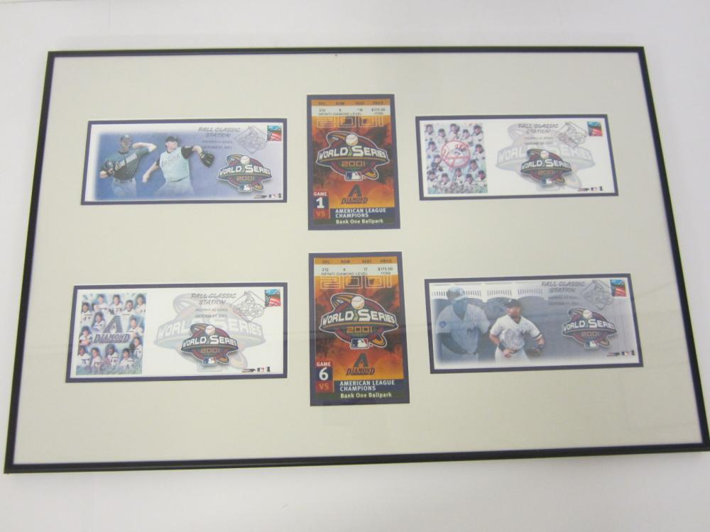2001 Yankees World Series Ticket & 1st Day Cover framed matted display Derek Jeter