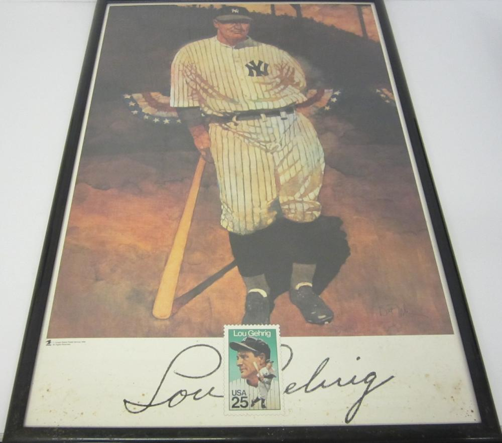Lou Gehrig New York Yankees USPS Stamp 24x36 framed poster 1989
