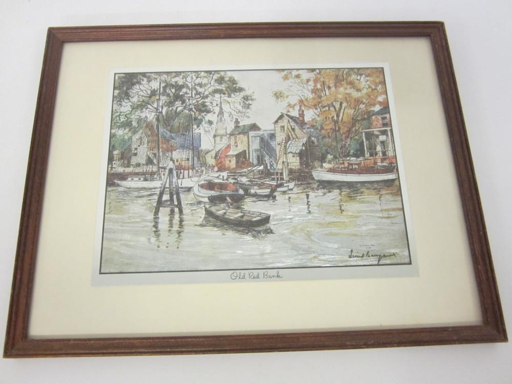 Vintage Old Red Bank framed matted 8x10 print